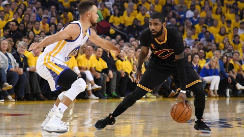 Jun 12, 2017; Oakland, CA, USA; Cleveland Cavaliers guard Kyrie Irving (2) controls the ball against Golden State Warriors guard Stephen Curry (30) during the first quarter in game five of the 2017 NBA Finals at Oracle Arena. Mandatory Credit: Kyle Terada-USA TODAY Sports