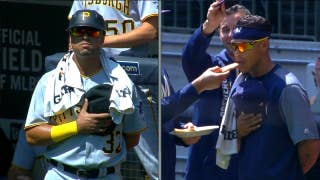 Elias Diaz and Orlando Arcia have standoff after National Anthem