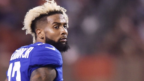 Aug 21, 2017; Cleveland, OH, USA; New York Giants wide receiver Odell Beckham (13) walks off the field after injuring his ankle during the first half against the Cleveland Browns at FirstEnergy Stadium. Mandatory Credit: Ken Blaze-USA TODAY Sports