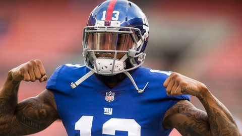 Aug 21, 2017; Cleveland, OH, USA; New York Giants wide receiver Odell Beckham (13) flexes for fans during warmups before a game against the Cleveland Browns at FirstEnergy Stadium. Mandatory Credit: Scott R. Galvin-USA TODAY Sports