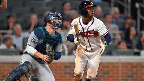 Aug 21, 2017; Atlanta, GA, USA; Atlanta Braves second baseman Ozzie Albies (1) watches his triple that scores two run against the Seattle Mariners during the sixth inning at SunTrust Park. Mandatory Credit: Dale Zanine-USA TODAY Sports
