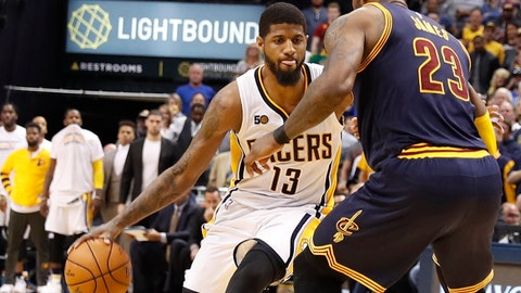 Apr 23, 2017; Indianapolis, IN, USA; Indiana Pacers forward Paul George (13) is guarded by Cleveland Cavaliers forward LeBron James (23) in game four of the first round of the 2017 NBA Playoffs at Bankers Life Fieldhouse. Cleveland defeats Indiana 106-102. Mandatory Credit: Brian Spurlock-USA TODAY Sports