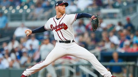 Atlanta Braves starting pitcher Mike Foltynewicz (26) delivers in the first inning of a baseball game against the Seattle Mariners, Monday, Aug. 21, 2017, in Atlanta. (AP Photo/Todd Kirkland)