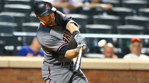 Aug 21, 2017; New York City, NY, USA; Arizona Diamondbacks center fielder A.J. Pollock (11) hits a game winning two run home run against the New York Mets during the tenth inning at Citi Field. Mandatory Credit: Andy Marlin-USA TODAY Sports