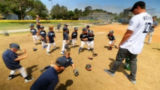 Hunter Renfroe visits young baseball players at Padres Summer Camp