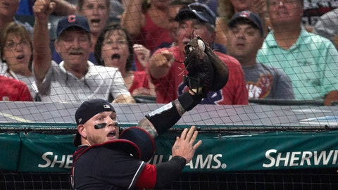 Aug 21, 2017; Cleveland, OH, USA; Cleveland Indians catcher Roberto Perez (55) makes a catch in foul territory for an out on a ball hit by Boston Red Sox left fielder Andrew Benintendi (not pictured) in the fifth inning at Progressive Field. Mandatory Credit: Rick Osentoski-USA TODAY Sports