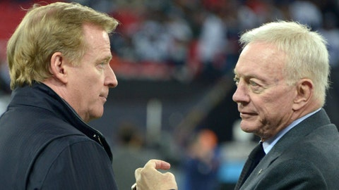 Nov 9, 2014; London, UNITED KINGDOM; NFL commissioner Roger Goodell (left) and Dallas Cowboys owner Jerry Jones before the game against the Jacksonville Jaguars in the NFL International Series game at Wembley Stadium. Mandatory Credit: Kirby Lee-USA TODAY Sports
