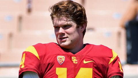 Apr 15, 2017; Los Angeles, CA, USA;  USC Trojans quarterback Sam Darnold (14) on the sidelines during the annual 2017 Spring Game at the Los Angeles Memorial Coliseum . Mandatory Credit: Jayne Kamin-Oncea-USA TODAY Sports