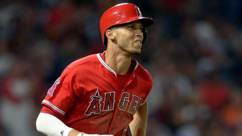 August 8, 2017; Anaheim, CA, USA; Los Angeles Angels shortstop Andrelton Simmons (2) runs after hitting a single in the seventh inning against the Baltimore Orioles at Angel Stadium of Anaheim. Mandatory Credit: Gary A. Vasquez-USA TODAY Sports