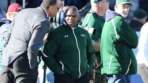 BIRMINGHAM, AL - DECEMBER 29: Incoming South Florida Bulls head coach Charlie Strong watches from the sidelines during the 2016 Birmingham Bowl between the South Carolina Gamecocks and South Florida Bulls on December 29, 2016, at Legion Field in Birmingham, AL. (Photo by Scott Donaldson/Icon Sportswire via Getty Images)