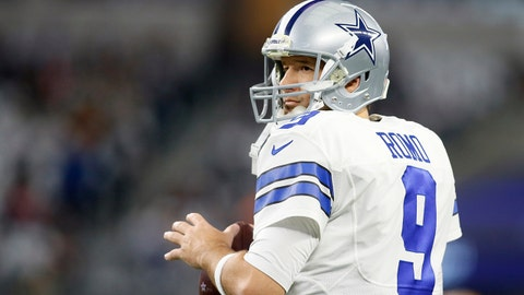 Jan 15, 2017; Arlington, TX, USA; Dallas Cowboys quarterback Tony Romo (9) warms up before the game against the Green Bay Packers in the NFC Divisional playoff game at AT&T Stadium. Mandatory Credit: Tim Heitman-USA TODAY Sports