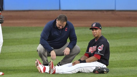 Indians' Brantley Injures Right Leg Against Rockies