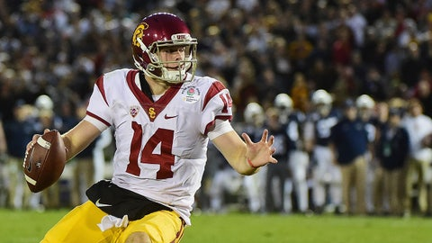 PASADENA, CA - JANUARY 02:  Quarterback Sam Darnold #14 of the USC Trojans runs with the ball against the Penn State Nittany Lions during the 2017 Rose Bowl Game presented by Northwestern Mutual at the Rose Bowl on January 2, 2017 in Pasadena, California.  (Photo by Harry How/Getty Images)