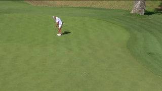 Watch Mark Lawrence Jr. sink a long birdie putt on the 12th at the U.S. Amateur