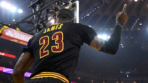 Jun 12, 2017; Oakland, CA, USA; Cleveland Cavaliers forward LeBron James (23) reacts after a basket against the Golden State Warriors during the first quarter in game five of the 2017 NBA Finals at Oracle Arena. Mandatory Credit: Kyle Terada-USA TODAY Sports