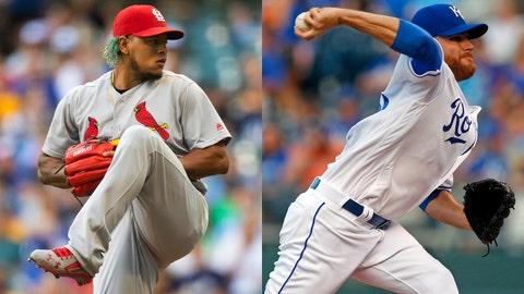 Cardinals pitcher Carlos Martinez and Royals pitcher Ian Kennedy