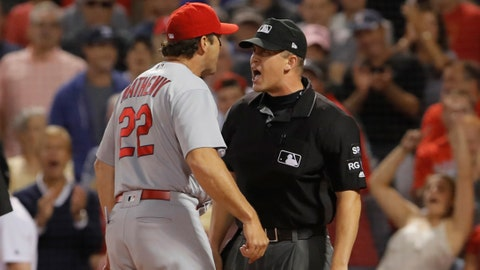 Mike Matheny was ejected from Wednesday's game at Boston.	 David Butler II-USA TODAY Sports