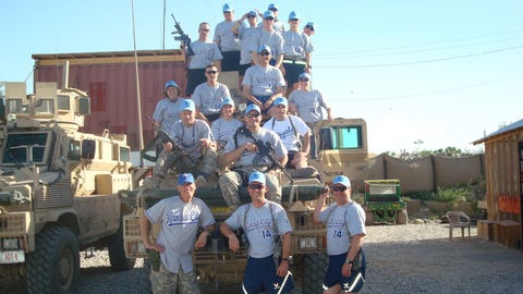 The photo with the soldiers on the armored vehicle is from 2009, the first time we did this with the Royals. That was with the Missouri National Guard Agri-Business Development Team (ADT), which was deployed in Jalalabad in the Nangarhar Province in Afghanistan.