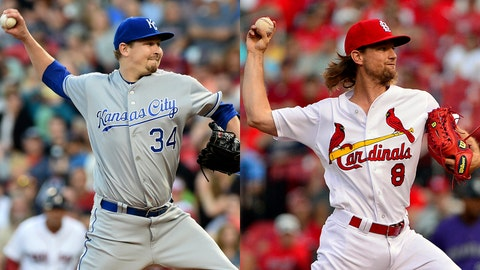Royals pitcher Trevor Cahill and Cardinals pitcher Mike Leake
