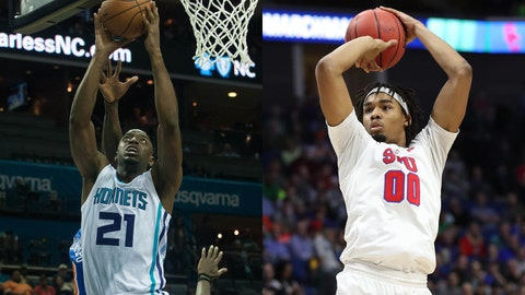 Damien Wilkins with the Charlotte Hornets during the 2015 preseason; Ben Moore as a senior at SMU.