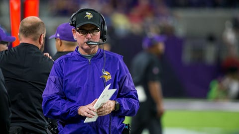 Vikings head coach Mike Zimmer (↑ UP)