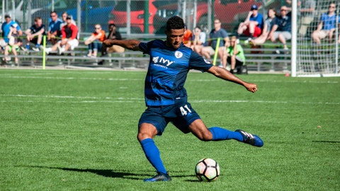 Midfielder James Musa with the Swope Park Rangers of the USL