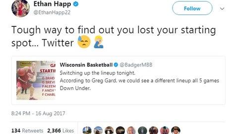 Ethan Happ, Badgers forward