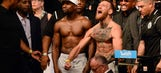 Best photos from the Conor McGregor – Floyd Mayweather weigh-ins