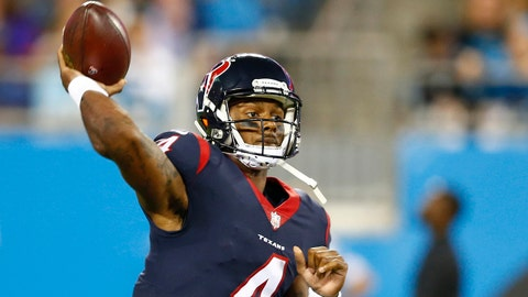 Aug 9, 2017; Charlotte, NC, USA; Houston Texans quarterback Deshaun Watson (4) passes the ball during the second quarter against the Carolina Panthers at Bank of America Stadium. Mandatory Credit: Jeremy Brevard-USA TODAY Sports