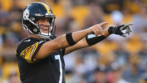 Aug 26, 2017; Pittsburgh, PA, USA;  Pittsburgh Steelers quarterback Ben Roethlisberger (7) gestures at the line of scrimmage against the Indianapolis Colts during the first quarter at Heinz Field. The Colts won19-15. Mandatory Credit: Charles LeClaire-USA TODAY Sports