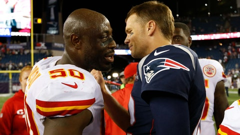 Sep 7, 2017; Foxborough, MA, USA; New England Patriots quarterback Tom Brady (12) and Kansas City Chiefs outside linebacker Justin Houston (50) meet after the game at Gillette Stadium. Mandatory Credit: Greg M. Cooper-USA TODAY Sports