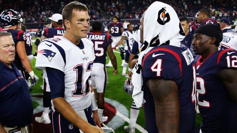 Aug 19, 2017; Houston, TX, USA; New England Patriots quarterback Tom Brady (12) speaks with Houston Texans quarterback Deshaun Watson (4) after the game at NRG Stadium. Mandatory Credit: Kevin Jairaj-USA TODAY Sports