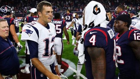 Aug 19, 2017; Houston, TX, USA; New England Patriots quarterback Tom Brady (12) speaks with Houston Texans quarterback Deshaun Watson (4) after the game at NRG Stadium. Mandatory Credit: Kevin Jairaj-USA TODAY Sports