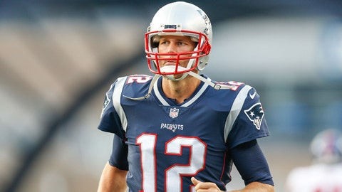 Aug 31, 2017; Foxborough, MA, USA; New England Patriots quarterback Tom Brady (12) before game against the New York Giants at Gillette Stadium. Mandatory Credit: Greg M. Cooper-USA TODAY Sports