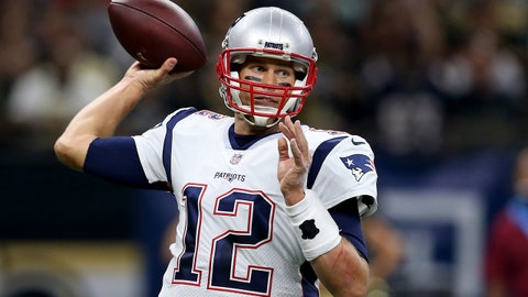 Sep 17, 2017; New Orleans, LA, USA; New England Patriots quarterback Tom Brady (12) makes a throw in the second quarter against the New Orleans Saints at the Mercedes-Benz Superdome. Mandatory Credit: Chuck Cook-USA TODAY Sports