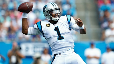 Sep 17, 2017; Charlotte, NC, USA; Carolina Panthers quarterback Cam Newton (1) looks to pass the football in the first quarter against the Buffalo Bills at Bank of America Stadium. Mandatory Credit: Jeremy Brevard-USA TODAY Sports