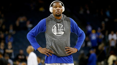 Apr 8, 2017; Oakland, CA, USA; Golden State Warriors forward Kevin Durant (35) stands on the court before the start of a game against the New Orleans Pelicans at Oracle Arena. Mandatory Credit: Cary Edmondson-USA TODAY Sports