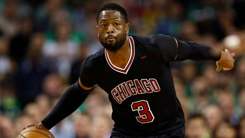 Apr 18, 2017; Boston, MA, USA; Chicago Bulls guard Dwyane Wade (3) controls the ball during the first quarter in game two of the first round of the 2017 NBA Playoffs against the Boston Celtics at TD Garden. Mandatory Credit: Greg M. Cooper-USA TODAY Sports