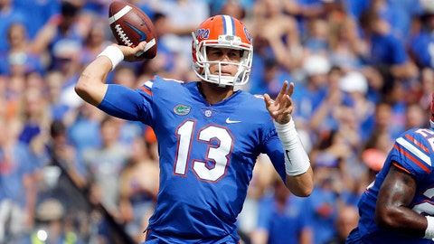 Sep 16, 2017; Gainesville, FL, USA; Florida Gators quarterback Feleipe Franks (13) throws the ball during the first quarter against the Tennessee Volunteers at Ben Hill Griffin Stadium. Mandatory Credit: Kim Klement-USA TODAY Sports