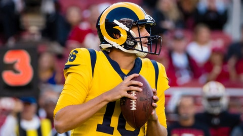 Sep 21, 2017; Santa Clara, CA, USA; Los Angeles Rams quarterback Jared Goff (16) drops back to pass against the San Francisco 49ers during the first quarter at Levi's Stadium. Mandatory Credit: Kelley L Cox-USA TODAY Sports