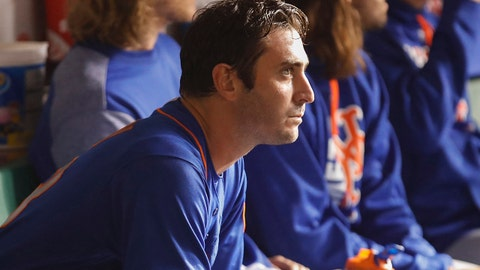 Sep 13, 2017; Chicago, IL, USA; New York Mets starting pitcher Matt Harvey (33) sits in a dugout after leaving the game against the Chicago Cubs during the fourth inning at Wrigley Field. Mandatory Credit: Kamil Krzaczynski-USA TODAY Sports