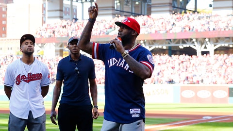 Oct 7, 2016; Cleveland, OH, USA; Cleveland Cavaliers forward LeBron James (right) speaks to the crowd  before game two of the 2016 ALDS playoff baseball series between the Cleveland Indians and the Boston Red Sox at Progressive Field. Mandatory Credit: Rick Osentoski-USA TODAY Sports