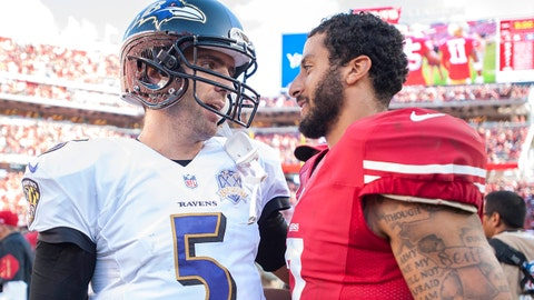 Oct 18, 2015; Santa Clara, CA, USA; Baltimore Ravens quarterback Joe Flacco (5) and San Francisco 49ers quarterback Colin Kaepernick (7) meet after the game at Levi's Stadium. The 49ers defeated the Ravens 25-20. Mandatory Credit: Ed Szczepanski-USA TODAY Sports