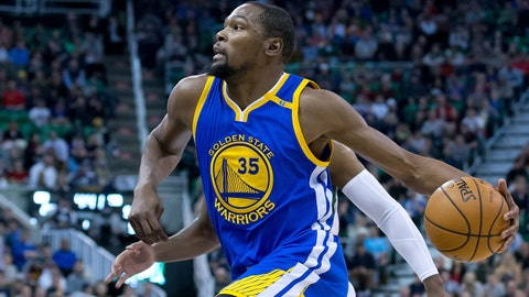Dec 8, 2016; Salt Lake City, UT, USA; Golden State Warriors forward Kevin Durant (35) drives to the basket during the first quarter against the Utah Jazz at Vivint Smart Home Arena. Mandatory Credit: Russ Isabella-USA TODAY Sports