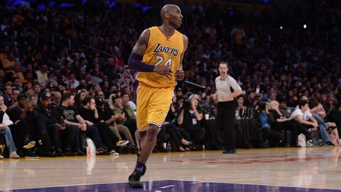 Apr 13, 2016; Los Angeles, CA, USA; Los Angeles Lakers forward Kobe Bryant (24) jogs back on offense against the Utah Jazz during the third quarter at Staples Center. Bryant was playing in the final game of his NBA career. Mandatory Credit: Robert Hanashiro-USA TODAY Sports