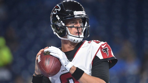 Sep 24, 2017; Detroit, MI, USA; Atlanta Falcons quarterback Matt Ryan (2) warms up before the game against the Detroit Lions at Ford Field. Mandatory Credit: Tim Fuller-USA TODAY Sports