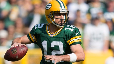 Sep 10, 2017; Green Bay, WI, USA; Green Bay Packers quarterback Aaron Rodgers (12) throws a pass during the first quarter against the Seattle Seahawks at Lambeau Field. Mandatory Credit: Jeff Hanisch-USA TODAY Sports