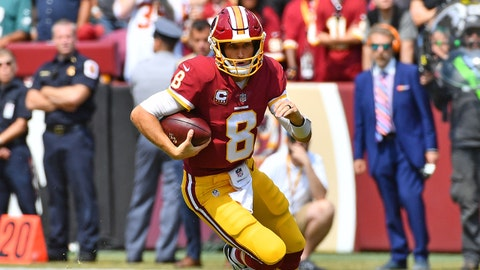 Sep 10, 2017; Landover, MD, USA; Washington Redskins quarterback Kirk Cousins (8) carries the ball against the Philadelphia Eagles during the first half at FedEx Field. Mandatory Credit: Brad Mills-USA TODAY Sports