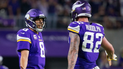 Sep 11, 2017; Minneapolis, MN, USA; Minnesota Vikings quarterback Sam Bradford (8) and tight end Kyle Rudolph (82) celebrate their touchdown in the fourth quarter against the New Orleans Saints at U.S. Bank Stadium. Mandatory Credit: Brad Rempel-USA TODAY Sports