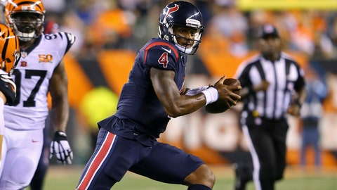 Sep 14, 2017; Cincinnati, OH, USA; Houston Texans quarterback Deshaun Watson (4) carries the ball against the Cincinnati Bengals in the second half at Paul Brown Stadium. Mandatory Credit: Aaron Doster-USA TODAY Sports